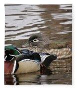 Mr. And Mrs. Wood Duck Fleece Blanket