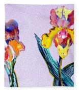 Mr. And Mrs. Yellow Iris Fleece Blanket