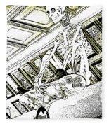 Mr Bones In Black And White With Sepia Tones Fleece Blanket