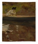 Mrs. Chase In Prospect Park , William Merritt Chase Fleece Blanket