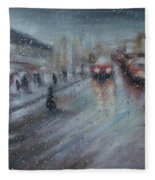 Christmas Rain Shopping Fleece Blanket