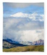 Mt Denali In The Clouds Fleece Blanket