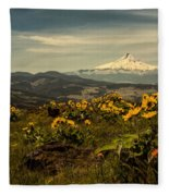 Mt. Hood And Wildflowers Fleece Blanket