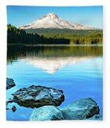 Mt. Hood In Trillium Lake Fleece Blanket