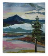Mt Hood Winter Sunrise Fleece Blanket