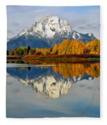 Mt Moran From Ox Bow Bend On A Fall Morning Fleece Blanket