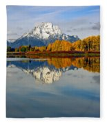 Mt Moran From The Ox Bow Fleece Blanket