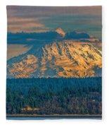 Mt Rainier Sunset Fleece Blanket