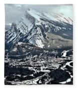 Mt Rundle Aerial View Fleece Blanket