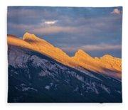 Mt Rundle Sunset Banff Fleece Blanket