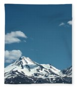Mt Shasta With Heart-shaped Cloud Fleece Blanket