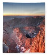 Mt Whitney And Pinnacles Sunrise - John Muir Trail Fleece Blanket