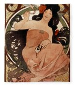 Mucha: Cigarette Paper Ad Fleece Blanket