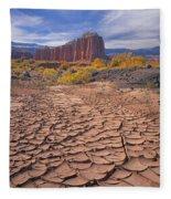 212648-mud Cracks Upper Cathedral Valley  Fleece Blanket