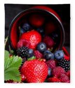 Mug With Fresh Berries Fleece Blanket