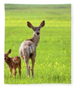 Mule Deer Doe And Fawn Looking Back Over Their Shoulders Fleece Blanket