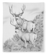 Mule Deer Study Fleece Blanket