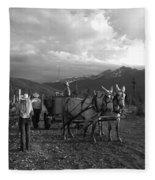 Mule Drawn Wagon Fleece Blanket