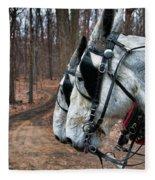 Mules At Sugar Camp Fleece Blanket
