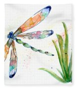 Multi-colored Dragonfly Fleece Blanket