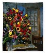 Multicolor Floral Arrangement Fleece Blanket