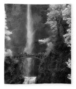 Multnomah Falls Bw Fleece Blanket