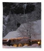 Multnomah Falls Christmas  Fleece Blanket