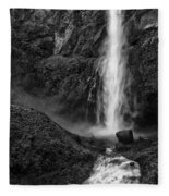 Multnomah Falls In Black And White Fleece Blanket