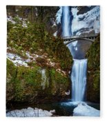 Multnomah Falls With Snow Fleece Blanket