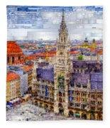 Munich Cityscape Fleece Blanket by Rafael Salazar