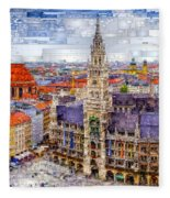 Munich Cityscape Fleece Blanket