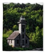 Munising Grand Island Lighthouse Upper Peninsula Michigan Vertical 02 Fleece Blanket
