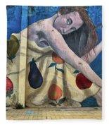 Mural Of A Woman In A Fruit Dress Fleece Blanket