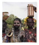 Mursi Tribesmen In Ethiopia Fleece Blanket