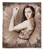 Muscle And Strength Pinup Poster Girl Fleece Blanket