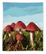 Mushrooms In Autumn Fleece Blanket