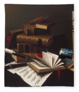 Music And Literature By William Michael Harnett Fleece Blanket