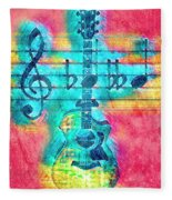 Music Is Everything In Colors Fleece Blanket