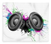 Music Speakers Colorful Design Fleece Blanket