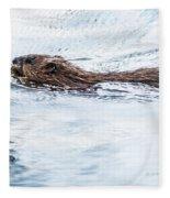 Muskrat Spring Swim Fleece Blanket