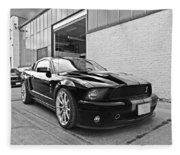 Mustang Alley In Black And White Fleece Blanket