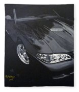 Mustang With Flames Fleece Blanket