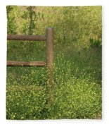 Mustard Grass And Fence At Entrance To Peters Canyon Fleece Blanket
