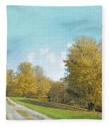 Mustard Yellow Trees And Landscape Fleece Blanket