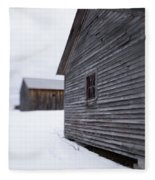 Musterfield Farm North Sutton Nh Old Buildings In The Snow Fleece Blanket