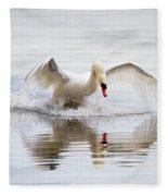 Mute Swan Landing I Fleece Blanket