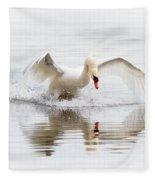 Mute Swan Landing II Fleece Blanket