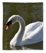 Mute Swan On Rolleston Pond Fleece Blanket
