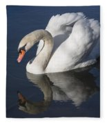 Mute Swan Reflected Fleece Blanket