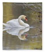 Mute Swan Reflection I Fleece Blanket